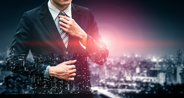 Obraz Podwójnej Ekspozycji Osoby Biznesu Premium Zdjęcia
