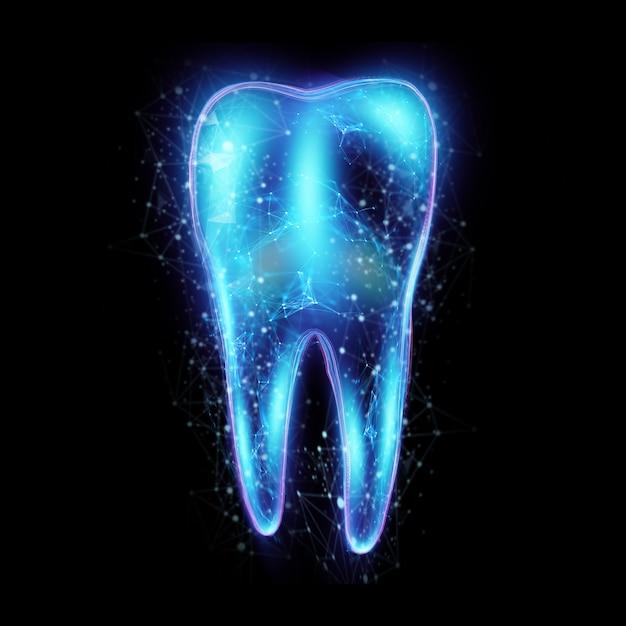 Obraz Zęba Z Neonowym Hologramem Premium Zdjęcia