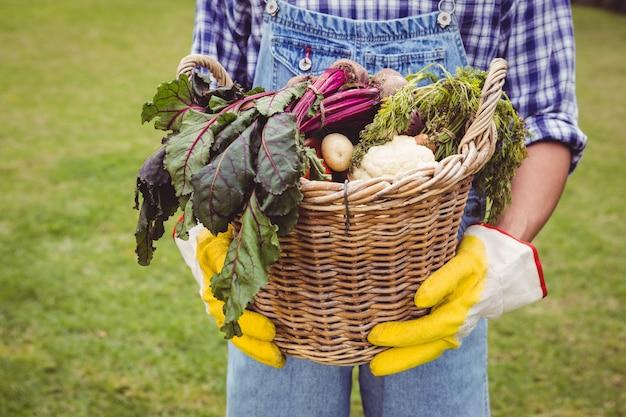 Obsługuje trzymać kosz świeżo zbierający warzywa w ogródzie Premium Zdjęcia