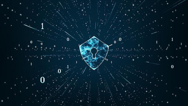 Ochrona danych cyber security concept with shield icon in cyber space. Premium Zdjęcia