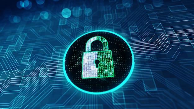 Ochrona danych koncepcja cyberbezpieczeństwa z ikoną blokady w przestrzeni cybernetycznej. Premium Zdjęcia