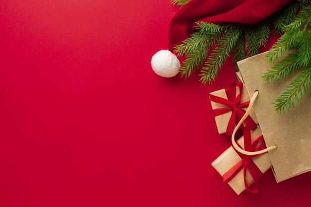 Odgórnego Widoku Bożych Narodzeń Pojęcie Z Kopii Przestrzenią Premium Zdjęcia