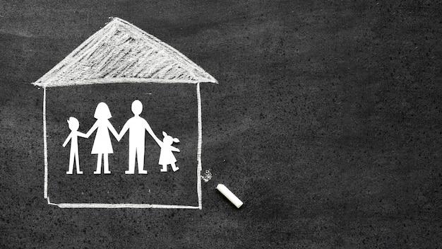 Odgórnego Widoku Rodzinny Pojęcie Na Blackboard Darmowe Zdjęcia