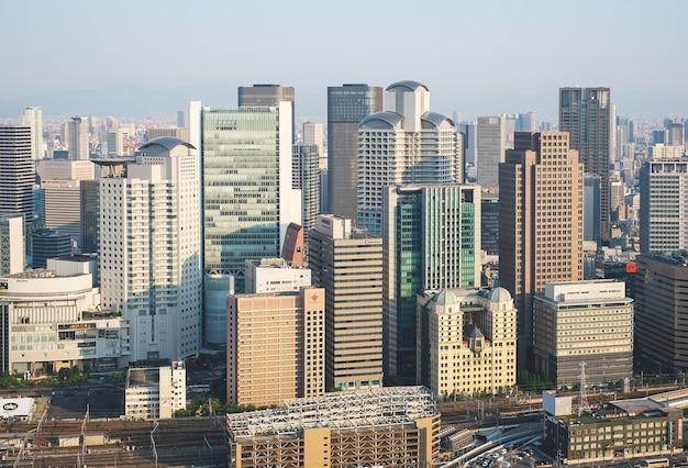 Odgórny Miasto Widok Przy Zmierzchem Nad Umeda Nieba Budynkiem Premium Zdjęcia