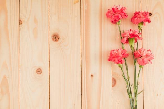 Odgórny Widok Kwitnie Na Drewnianym Tle Z Kopii Przestrzenią Darmowe Zdjęcia