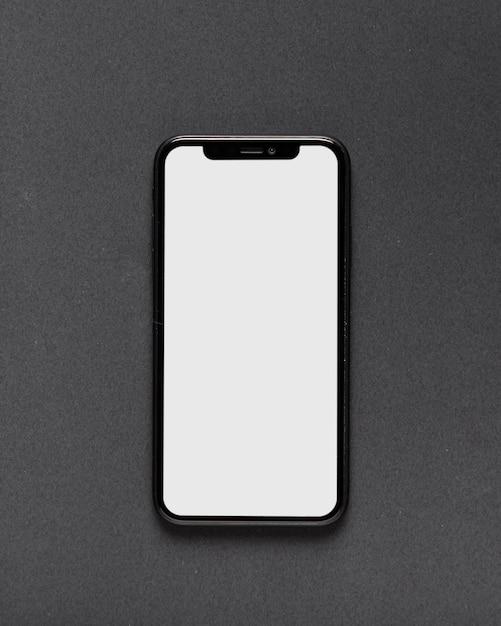 Odgórny Widok Smartphone Na Czarnym Tle Premium Zdjęcia