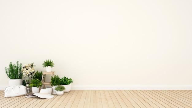 Ogród w mieszkaniu lub kawiarni - 3d rendering Premium Zdjęcia