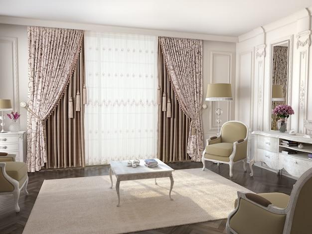 Okno Kurtynowe Z Dekoracyjnym Premium Zdjęcia