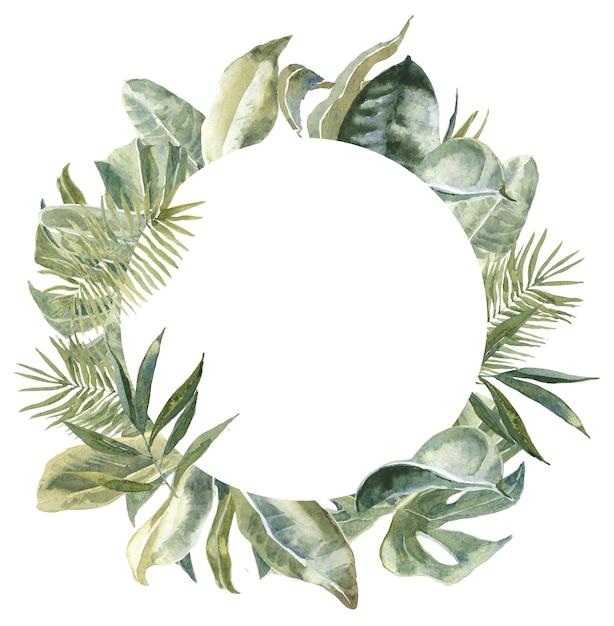Okrągła Rama Liści Tropikalnych. Egzotyczny Wieniec Kwiatowy. Obramowanie Z Liści Palmowych Premium Zdjęcia