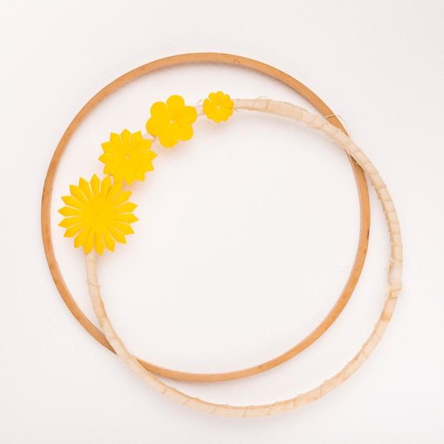 Okrągła rama żółty kwiat na białym tle Darmowe Zdjęcia