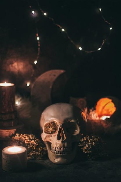 Okultystyczna Scena Mistycznego Rytuału Czarownic Na Halloween - Ludzka Czaszka, świece, Suszone Kwiaty, Księżyc I Sowa. Premium Zdjęcia