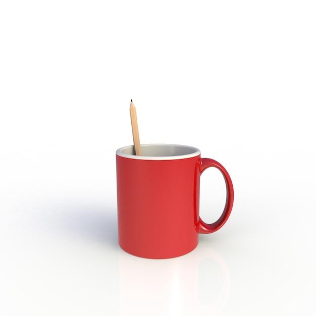 Ołówek W Czerwonej Filiżance Na Bielu Premium Zdjęcia