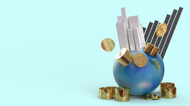 Opierając Się Na Monetach Ziemi I Renderingu Wykresu 3d Dla Treści Biznesowych. Premium Zdjęcia