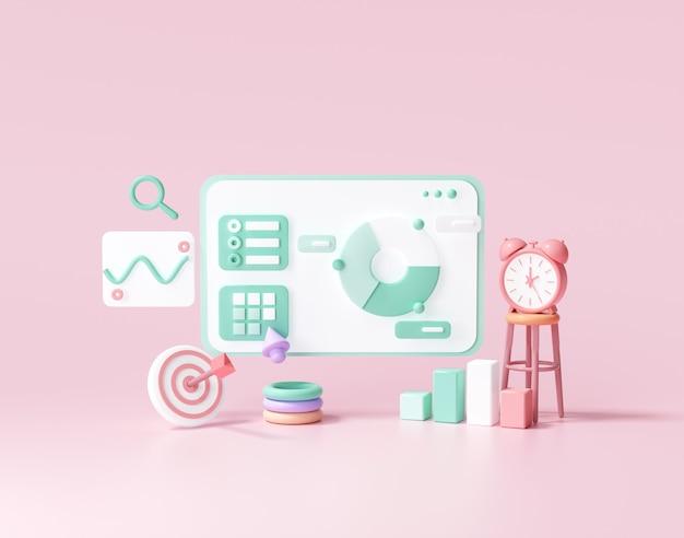 Optymalizacja 3d Seo, Analityka Internetowa I Koncepcja Mediów Społecznościowych Seo Marketing. Ilustracja Renderowania 3d Premium Zdjęcia