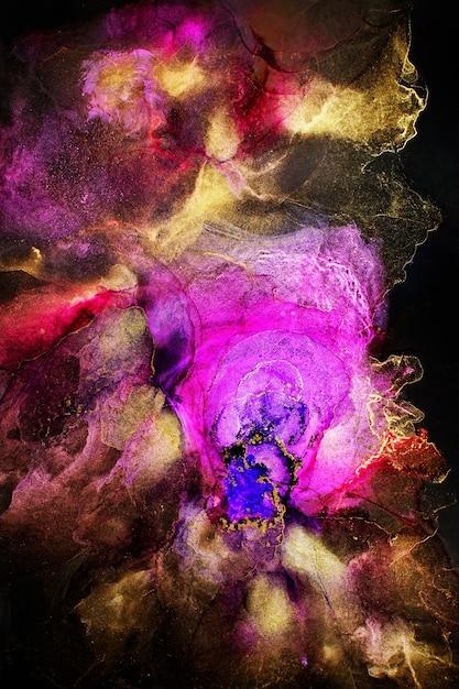 Oryginalna Sztuka Malowania Tuszem Alkoholowym Na Czarnym Tle Premium Zdjęcia