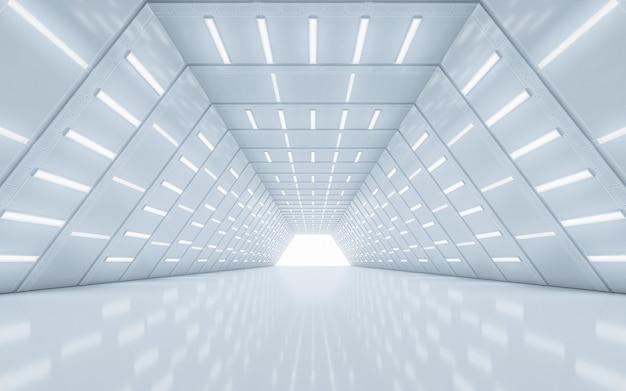 Oświetlony Projekt Wnętrza Korytarza. Renderowania 3d. Premium Zdjęcia
