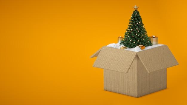 Otwarte Pudełko Z Choinką I śniegiem Premium Zdjęcia