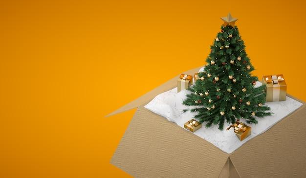 Otwarte Pudełko Z Choinką I Złotymi Pudełkami Premium Zdjęcia