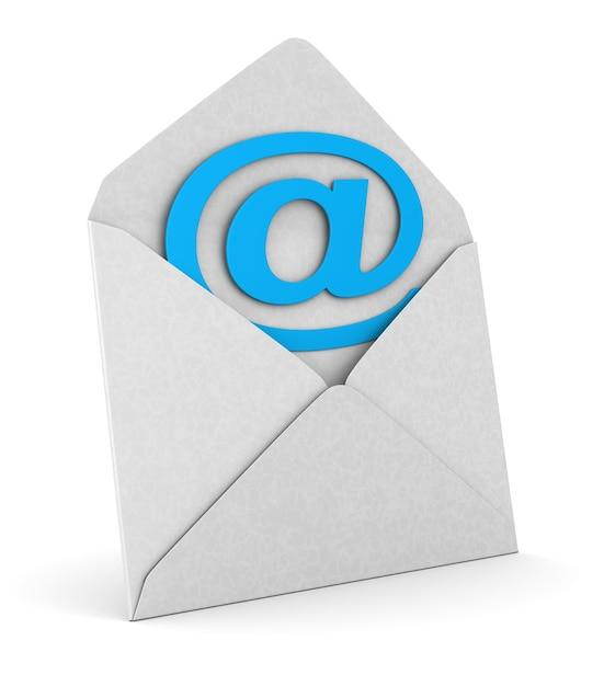 Otwórz Kopertę I Symbol E-maila Na Białej Przestrzeni Premium Zdjęcia