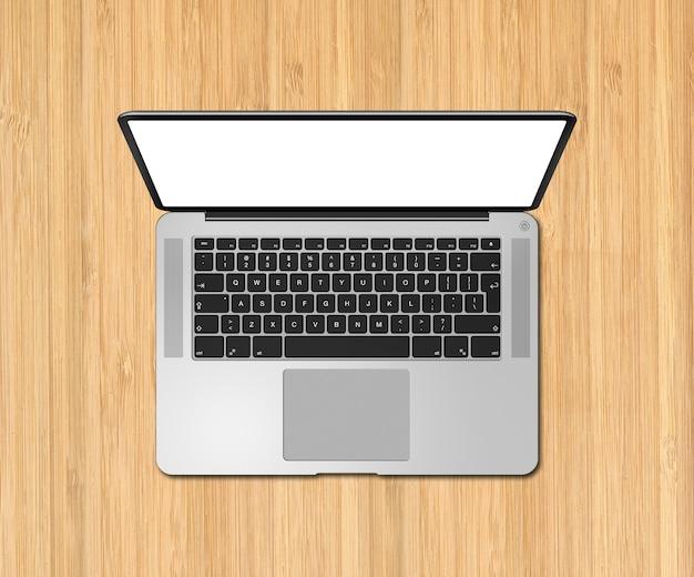 Otwórz Widok Z Góry Laptopa Z Pustym Ekranem Na Drewnianym Biurku. Renderowania 3d Premium Zdjęcia
