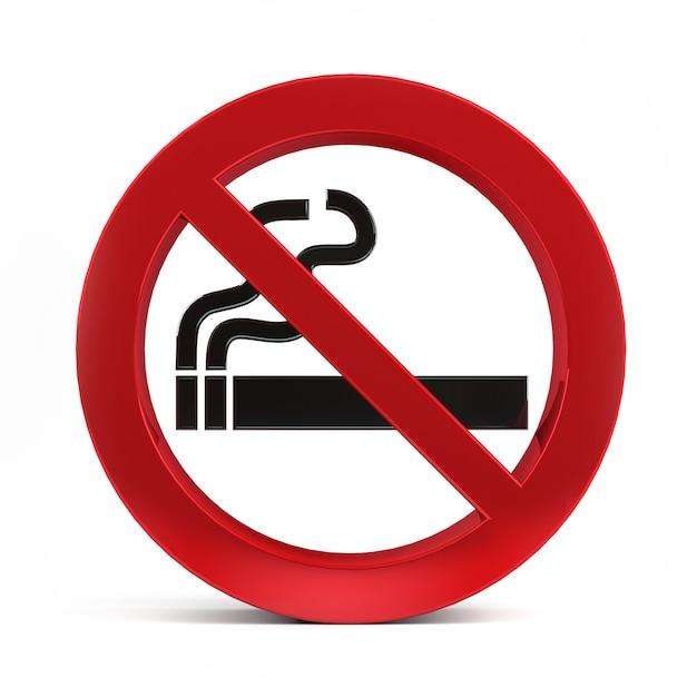 Oznak Palenia Samodzielnie Na Białym Tle Renderowania 3d. Premium Zdjęcia