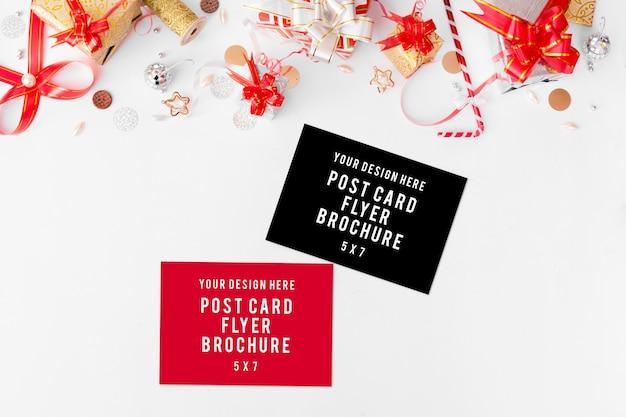 Pamiętnik pocztówka ulotka kompozycja świąteczna. Premium Zdjęcia