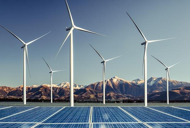 Panel Energii Słonecznej Ogniwo Fotowoltaiczne I Generator Energii Farmy Turbin Wiatrowych W Krajobrazie Przyrody. Premium Zdjęcia