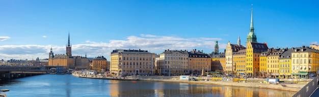 Panoram widok na panoramę sztokholmu z widokiem gamla stan w sztokholmie, szwecja Premium Zdjęcia