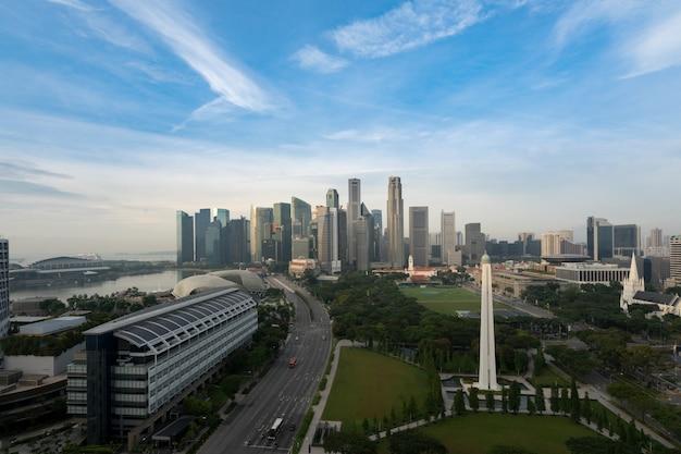 Panorama Dzielnicy Biznesowej Singapuru Premium Zdjęcia