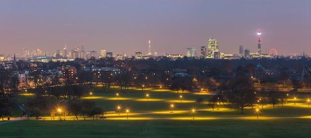 Panoramiczny widok londynu z parku primrose hill o zmierzchu. Premium Zdjęcia
