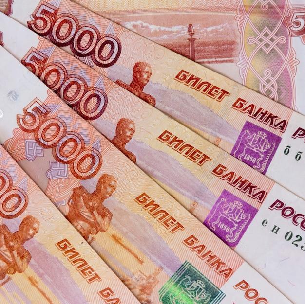 Papierowy Rosjanin Pięć Tysięcyth Rubla Pieniądze Odgórny Widok Zakończenie Premium Zdjęcia
