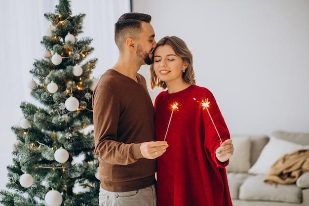 Para Razem świętuje Boże Narodzenie W Domu Darmowe Zdjęcia