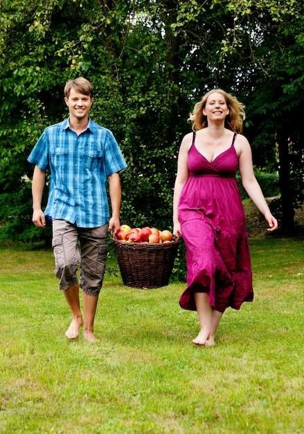 Pary Przewożenia Kosz Z Jabłkami Premium Zdjęcia