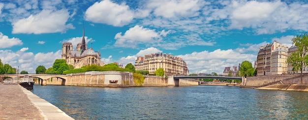 Paryż, Panorama Katedry Notre-dame Nad Sekwaną Premium Zdjęcia