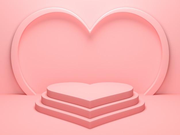 Pastelowe Różowe Tło Podium W Kształcie Serca Na Stojak Na Produkty Lub Używane W Innych Projektach. Renderowanie 3d Premium Zdjęcia
