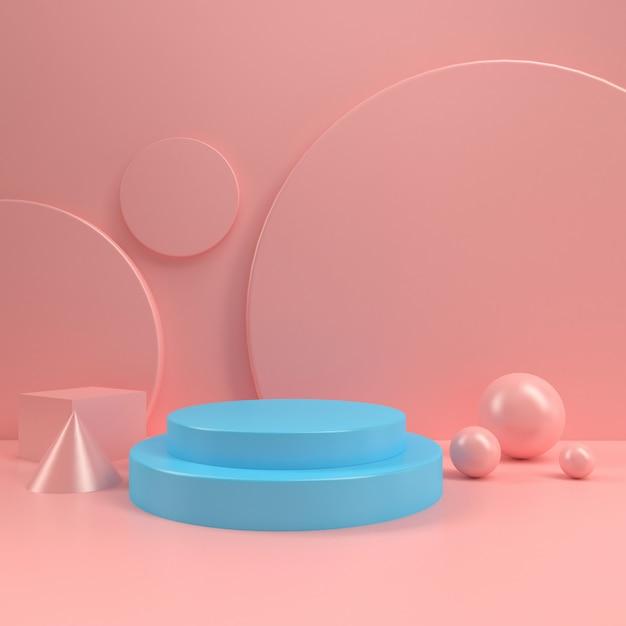 Pastelowe stoisko podium koło scena wyświetlacz tabela szablon makieta minimalistyczny skład drewna ściany renderowania 3d Premium Zdjęcia