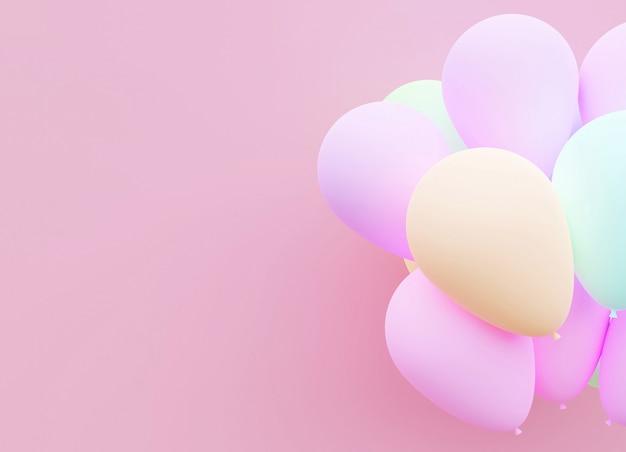Pastelu balonowy tła 3d rendering. Premium Zdjęcia