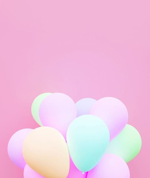 Pastelu Tła Balonowy Miłości 3d Rendering. Premium Zdjęcia