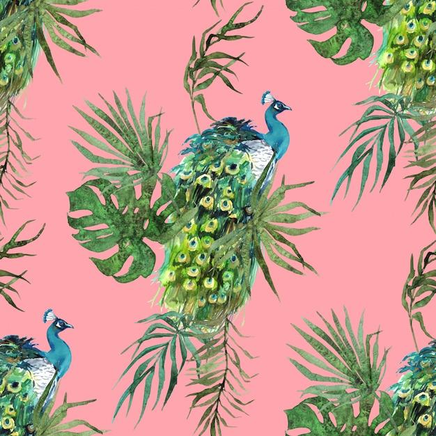 Pawie pióra i liście tropikalne akwarela wzór Premium Zdjęcia
