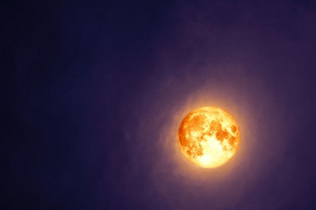 Pełna Krew Beaver Moon Na Ciemnej Chmurze Na Nocnym Niebie Premium Zdjęcia