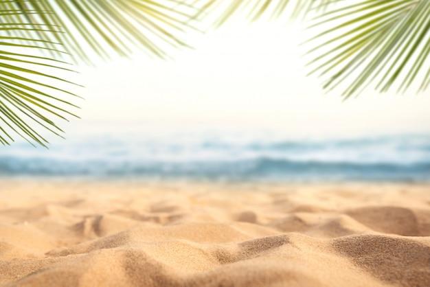 Piasek Z Niewyraźne Palm I Tropikalny Tło Bokeh Plaży Premium Zdjęcia