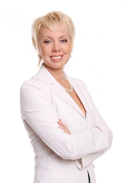 Piękna atrakcyjna kobieta na bielu Darmowe Zdjęcia