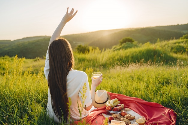 Piękna Dziewczyna Na Pikniku W Letnim Polu Darmowe Zdjęcia