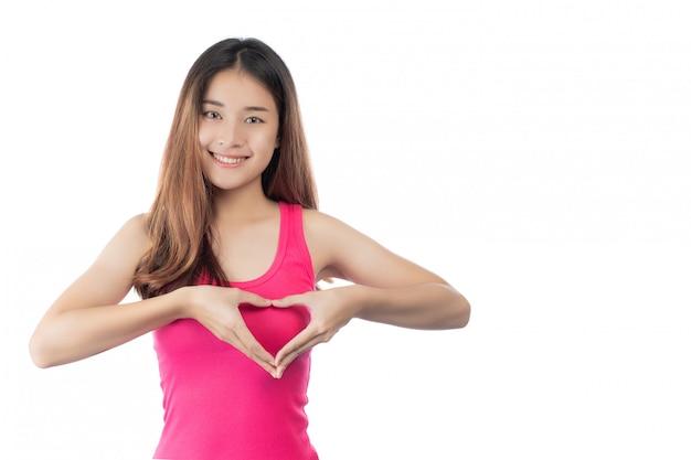 Piękna kobieta, badanie piersi (bse) breast cancer awareness (bse). Darmowe Zdjęcia