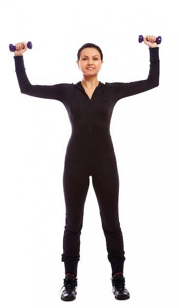 Piękna Kobieta Robi Sprawności Fizycznej ćwiczy Z Ciężarami Darmowe Zdjęcia