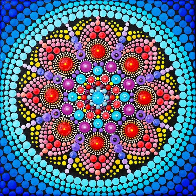 Piękna Mandala Ręcznie Malowana Premium Zdjęcia