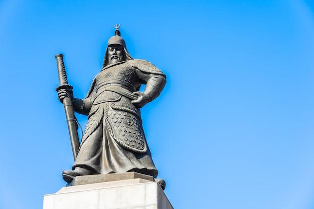 Piękna Statua Admirał Yi Sun Shin Darmowe Zdjęcia