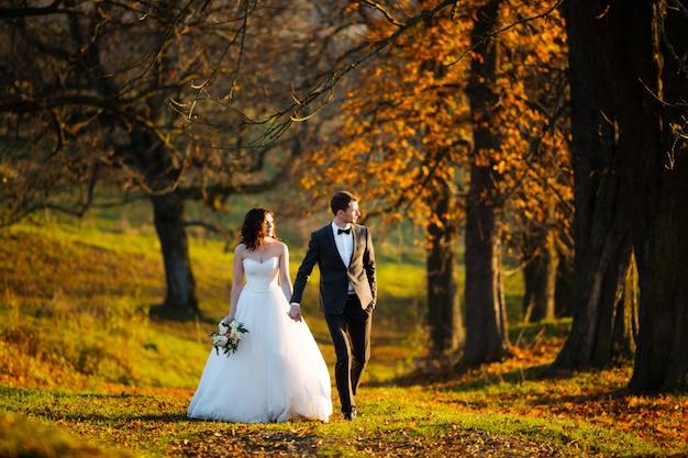 Piękna Szczęśliwa Stylowa Panna Młoda Z Eleganckim Panem Młodym Na Tle Pięknych Drzew W Jesień Parku Premium Zdjęcia