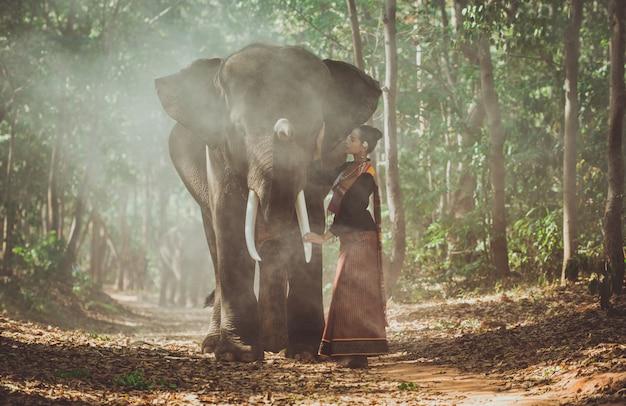 Piękna Tajlandzka Kobieta Wydaje Czas Z Słoniem W Dżungli Premium Zdjęcia