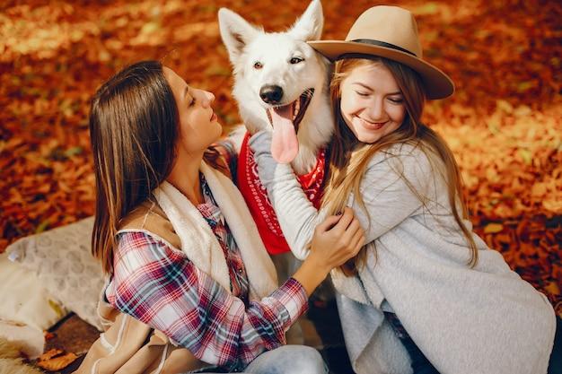 Piękne dziewczyny bawią się w jesiennym parku Darmowe Zdjęcia